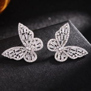 NEW 18K white gold plated butterfly earrings